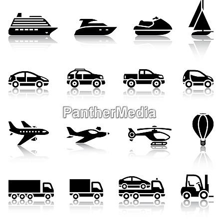 set of transport signs