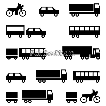 set of vector icons transportation