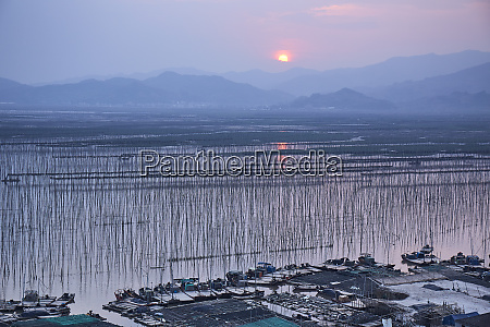 sunset over shajiang s bay with