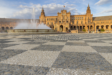 fountain and main building at plaza