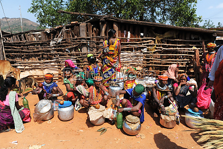 bonda and godaba tribeswomen selling home