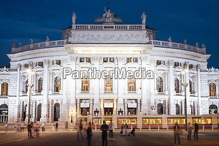exterior of the burgtheater at night