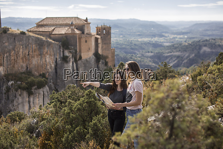 spain alquezar two young women with