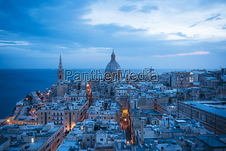 aerial view of valletta skyline at