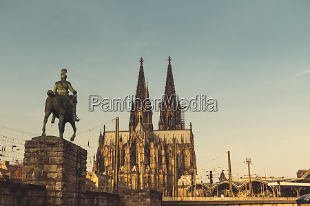germany cologne view to equestrian sculpture