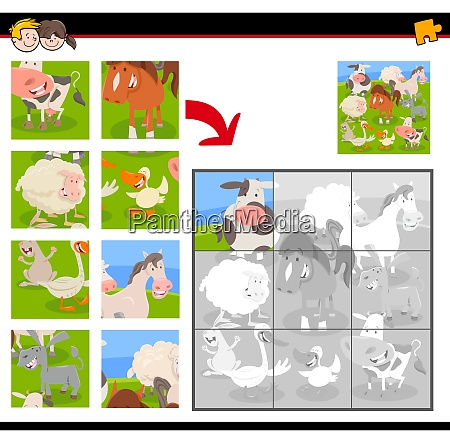 jigsaw puzzles with cartoon farm animals