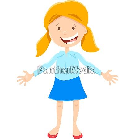 kid or teen happy girl cartoon