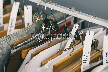 clothes rail in tailor shop