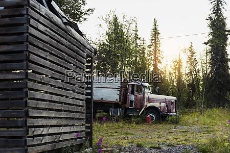sweden lapland run down truck in