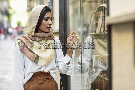 spain granada young muslim tourist woman
