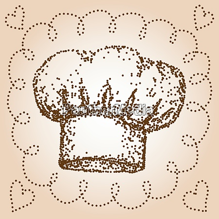 chef hat dotted hand drawn illustration