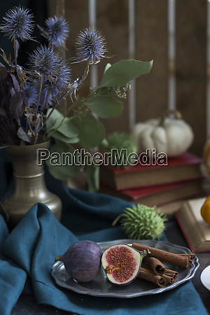 still life with figs and cinnamon