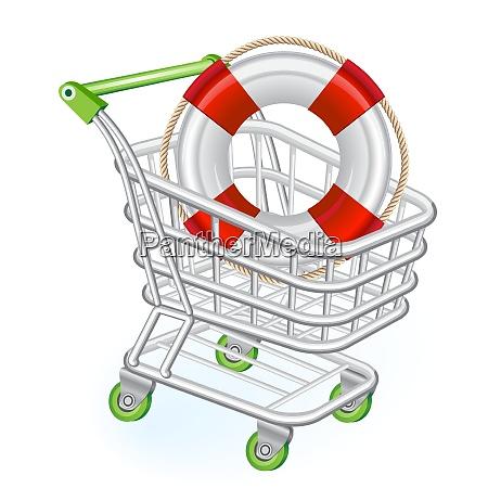 shopping cart with lifebelt