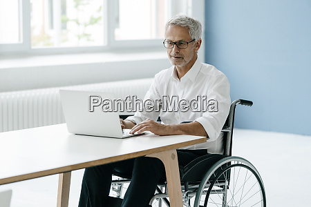 handicapped manager in a wheelchair working