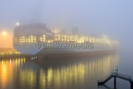 germany hamburg harbour container ship in