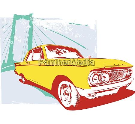 vector illustration of old vintage custom