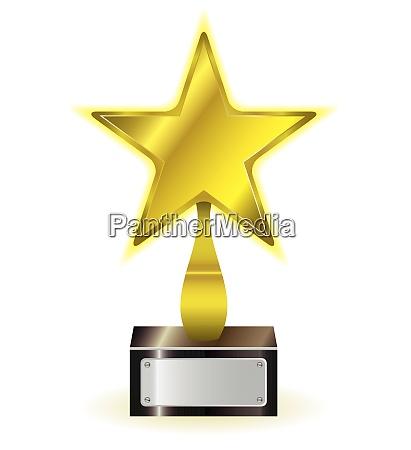 golden star achievement award with space
