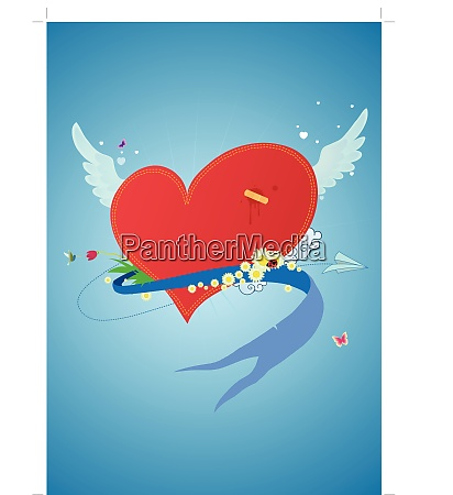 cool funky red heart flying in