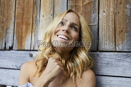 portrait of happy blond woman in