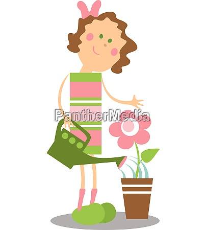 vector girl with flower color 14