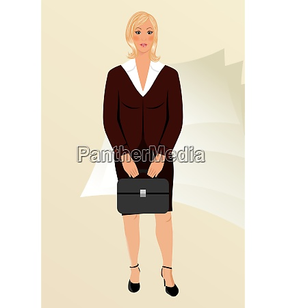 illustration business women with case isolated