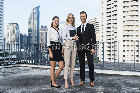 group of successful business people on