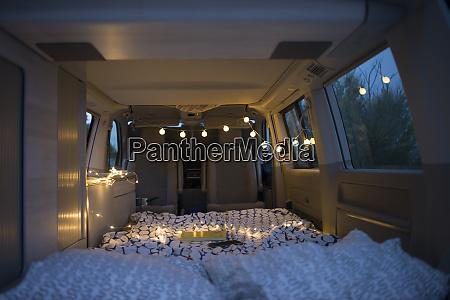 bed inside of a camper