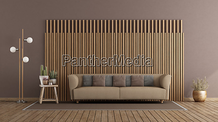 living room with sofa and wooden