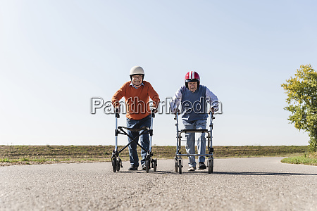 two old friends wearing safety helmets