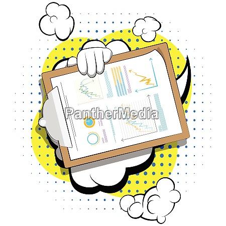 cartoon hand holding finance report