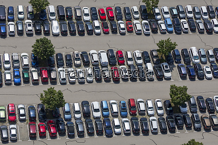 aerial view of a full parking