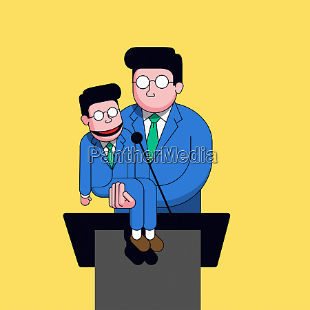 politician using look alike ventriloquist dummy