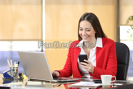 businesswoman working using a smart phone