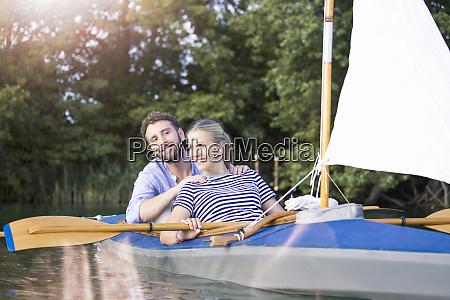 happy young couple enjoying a trip