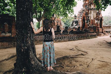 thailand ayutthaya woman looking at a
