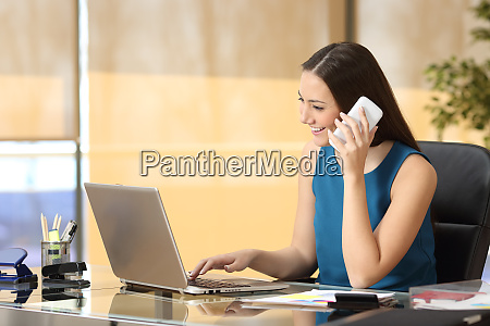 entrepreneur working on line and talking