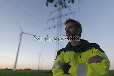 portrait of an engineer next to