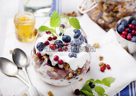 healthy breakfast granola with berries honey