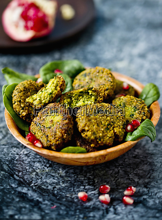 herb falafel with pomegranate