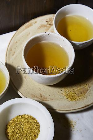 dried mushroom tea in small bowls