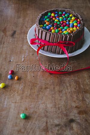 a chocolate cake with chocolate bars