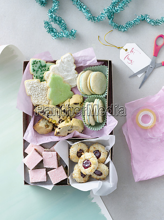 christmas biscuits in a gift box