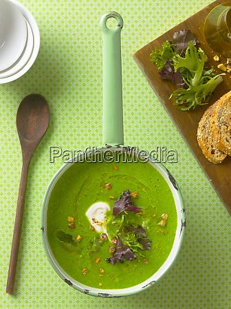 cream of pea soup in a