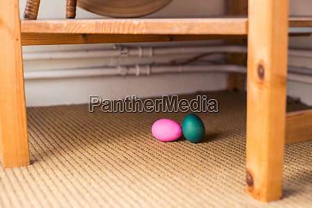 green and pink dyed easter egg