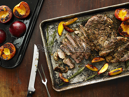 grilled boneless pork butt and peaches