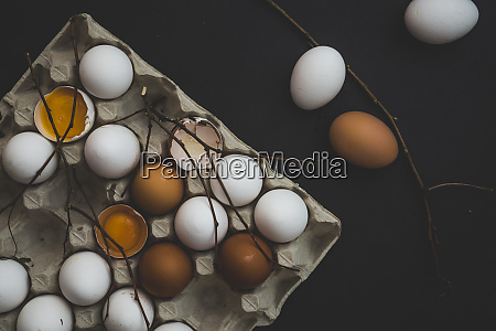 a egg box with white and