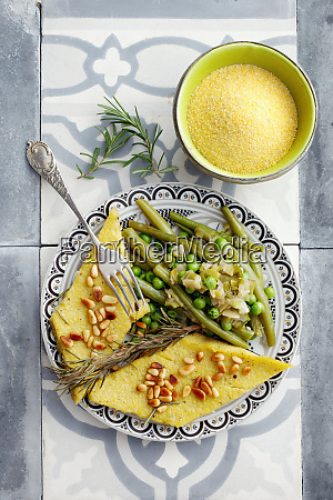 polenta slices with a bean medley