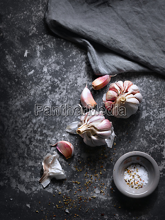 aromatic condiments of garlic and salt