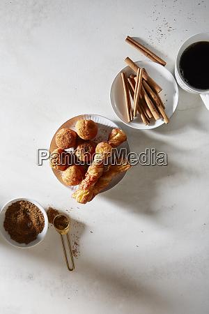 pastries and coffee with turbinado sugar