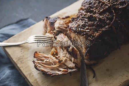 slow cooked pork with sugar glazing